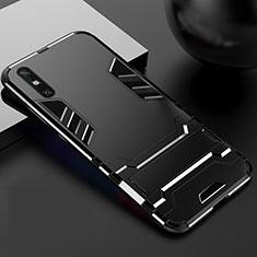 Custodia Silicone e Plastica Opaca Cover con Supporto per Huawei Enjoy 10e Nero