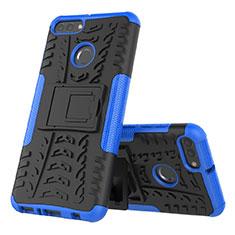 Custodia Silicone e Plastica Opaca Cover con Supporto per Huawei Enjoy 8 Plus Blu