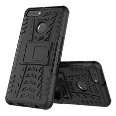 Custodia Silicone e Plastica Opaca Cover con Supporto per Huawei Enjoy 8 Plus Nero