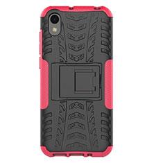 Custodia Silicone e Plastica Opaca Cover con Supporto per Huawei Enjoy 8S Rosa