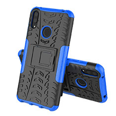 Custodia Silicone e Plastica Opaca Cover con Supporto per Huawei Enjoy 9 Blu