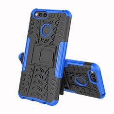Custodia Silicone e Plastica Opaca Cover con Supporto per Huawei Honor 7A Blu