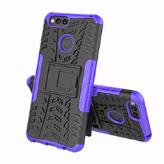 Custodia Silicone e Plastica Opaca Cover con Supporto per Huawei Honor 7A Viola