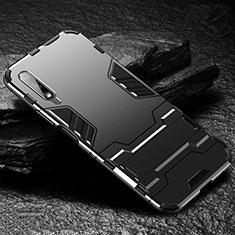 Custodia Silicone e Plastica Opaca Cover con Supporto per Huawei Honor 9X Nero