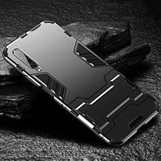 Custodia Silicone e Plastica Opaca Cover con Supporto per Huawei Honor 9X Pro Nero