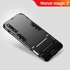 Custodia Silicone e Plastica Opaca Cover con Supporto per Huawei Honor Magic 2 Nero