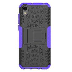 Custodia Silicone e Plastica Opaca Cover con Supporto per Huawei Honor Play 8 Viola