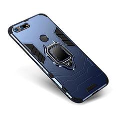Custodia Silicone e Plastica Opaca Cover con Supporto per Huawei Honor V20 Blu