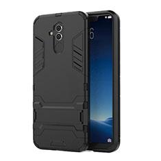 Custodia Silicone e Plastica Opaca Cover con Supporto per Huawei Mate 20 Lite Nero