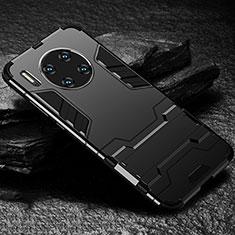 Custodia Silicone e Plastica Opaca Cover con Supporto per Huawei Mate 30 5G Nero