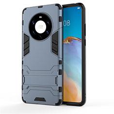 Custodia Silicone e Plastica Opaca Cover con Supporto per Huawei Mate 40 Pro+ Plus Blu