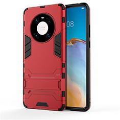 Custodia Silicone e Plastica Opaca Cover con Supporto per Huawei Mate 40 Rosso