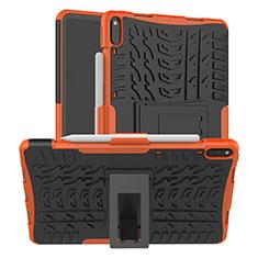 Custodia Silicone e Plastica Opaca Cover con Supporto per Huawei MatePad Pro Arancione