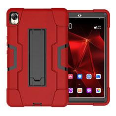 Custodia Silicone e Plastica Opaca Cover con Supporto per Huawei MediaPad M6 10.8 Rosso