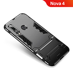 Custodia Silicone e Plastica Opaca Cover con Supporto per Huawei Nova 4 Nero