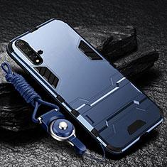 Custodia Silicone e Plastica Opaca Cover con Supporto per Huawei Nova 5 Blu