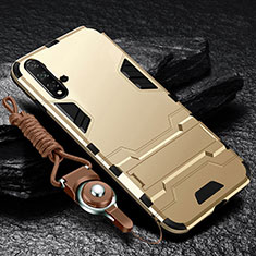 Custodia Silicone e Plastica Opaca Cover con Supporto per Huawei Nova 5 Oro