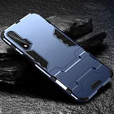 Custodia Silicone e Plastica Opaca Cover con Supporto per Huawei Nova 6 5G Blu