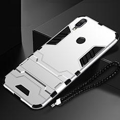 Custodia Silicone e Plastica Opaca Cover con Supporto per Huawei Nova Lite 3 Argento