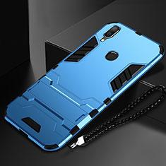 Custodia Silicone e Plastica Opaca Cover con Supporto per Huawei Nova Lite 3 Cielo Blu