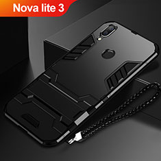 Custodia Silicone e Plastica Opaca Cover con Supporto per Huawei Nova Lite 3 Nero