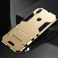 Custodia Silicone e Plastica Opaca Cover con Supporto per Huawei Nova Lite 3 Oro