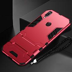 Custodia Silicone e Plastica Opaca Cover con Supporto per Huawei Nova Lite 3 Rosso