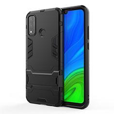 Custodia Silicone e Plastica Opaca Cover con Supporto per Huawei P Smart (2020) Nero
