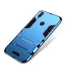 Custodia Silicone e Plastica Opaca Cover con Supporto per Huawei P Smart+ Plus Blu