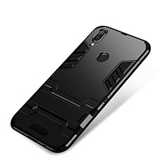 Custodia Silicone e Plastica Opaca Cover con Supporto per Huawei P Smart+ Plus Nero