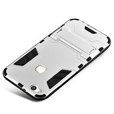 Custodia Silicone e Plastica Opaca Cover con Supporto per Huawei P10 Lite Argento