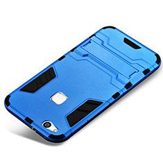 Custodia Silicone e Plastica Opaca Cover con Supporto per Huawei P10 Lite Blu