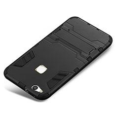 Custodia Silicone e Plastica Opaca Cover con Supporto per Huawei P10 Lite Nero
