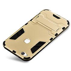 Custodia Silicone e Plastica Opaca Cover con Supporto per Huawei P10 Lite Oro
