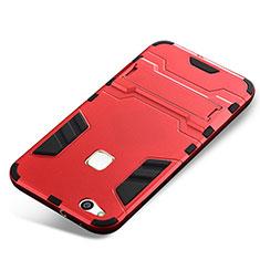 Custodia Silicone e Plastica Opaca Cover con Supporto per Huawei P10 Lite Rosso