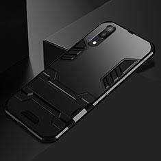 Custodia Silicone e Plastica Opaca Cover con Supporto per Huawei P20 Nero