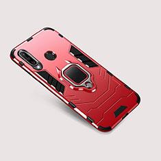 Custodia Silicone e Plastica Opaca Cover con Supporto per Huawei P30 Lite Rosso