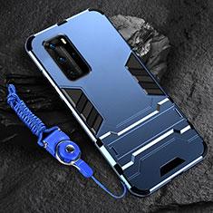 Custodia Silicone e Plastica Opaca Cover con Supporto per Huawei P40 Pro Blu