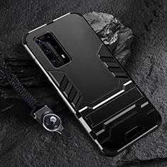 Custodia Silicone e Plastica Opaca Cover con Supporto per Huawei P40 Pro+ Plus Nero