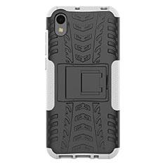 Custodia Silicone e Plastica Opaca Cover con Supporto per Huawei Y5 (2019) Bianco