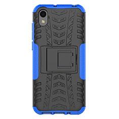 Custodia Silicone e Plastica Opaca Cover con Supporto per Huawei Y5 (2019) Blu