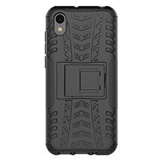 Custodia Silicone e Plastica Opaca Cover con Supporto per Huawei Y5 (2019) Nero