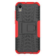 Custodia Silicone e Plastica Opaca Cover con Supporto per Huawei Y5 (2019) Rosso