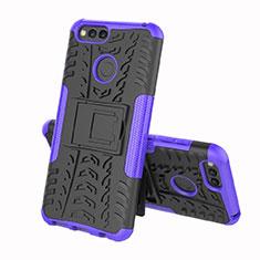 Custodia Silicone e Plastica Opaca Cover con Supporto per Huawei Y6 (2018) Viola