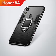 Custodia Silicone e Plastica Opaca Cover con Supporto per Huawei Y6 Prime (2019) Nero