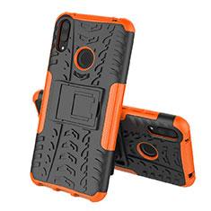 Custodia Silicone e Plastica Opaca Cover con Supporto per Huawei Y7 Pro (2019) Arancione