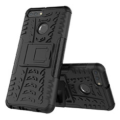 Custodia Silicone e Plastica Opaca Cover con Supporto per Huawei Y9 (2018) Nero