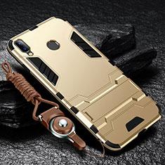 Custodia Silicone e Plastica Opaca Cover con Supporto per Huawei Y9 (2019) Oro