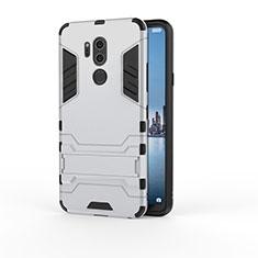 Custodia Silicone e Plastica Opaca Cover con Supporto per LG G7 Argento