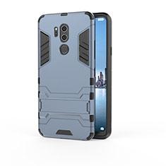 Custodia Silicone e Plastica Opaca Cover con Supporto per LG G7 Blu